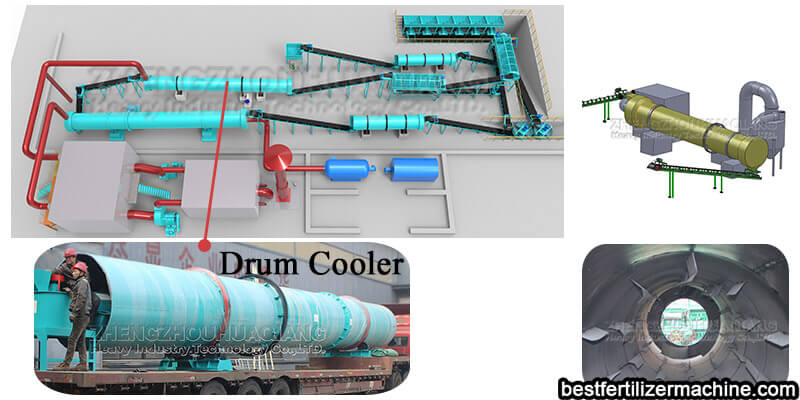 drum cooler for fertilizer manufacturing machine
